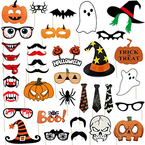 Halloween Photo Projects (45-Piece Halloween Party Photo Booth Props Kit, Halloween Party Trick or Treat Party Supplies, Including Scary Frankenstein,Pumpkin,Ghost, Vampire)