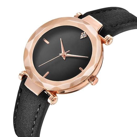 Relojes Mujer,❤LMMVP❤Mujer retro digital dial de cuero banda de cuarzo analógico