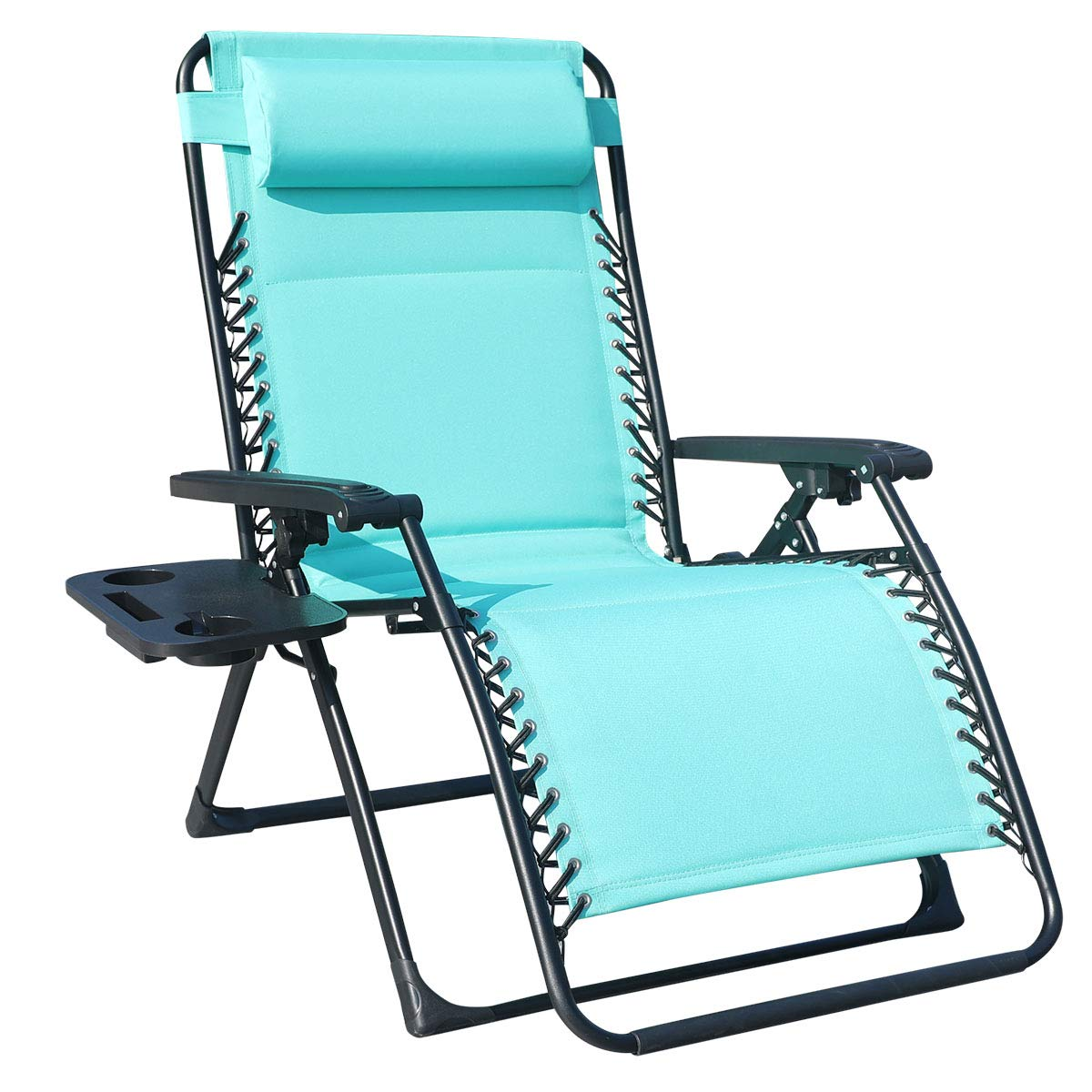 GOLDSUN Oversize XL Padded Zero Gravity Lounge Patio Chair Adjustable Reclining Lounger with Utility Cup Tray Support 350 LBS-Blue by GOLDSUN