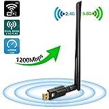 Jrelecs WiFi Adapter 1200Mbps, USB3.0 Wireless Network Adapter with 5dBi Antenna, DORISO Dual Band 2.4GHz/300Mbps+5GHz/867Mbps 802.11AC Wireless Adapter for Windows 10/8.1/8/7/XP/Vista, MAC OS 10.4