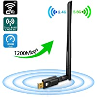 Jrelecs WiFi Adapter 1200Mbps, USB3.0 Wireless Network Adapter with 5dBi Antenna, DORISO Dual Band 2.4GHz/300Mbps+5GHz/867Mbps 802.11AC Wireless Adapter for Windows 10/8.1/8/7/XP/Vista, MAC OS 10.4