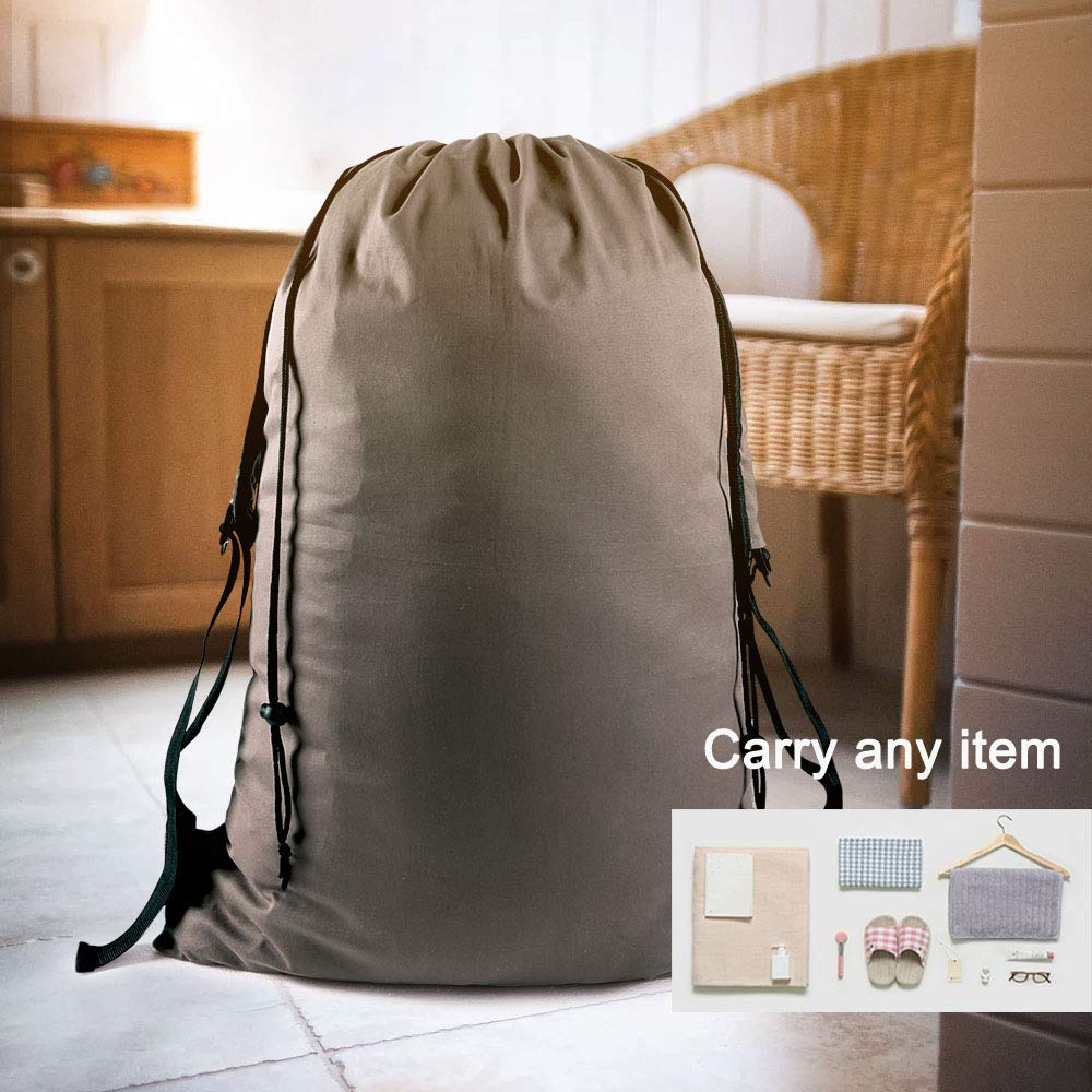 Apartment Khaki Dorms Motony Laundry Bags 『35X25』Canvas Drawstring Bags with Large Capacity Backpack Clothes Storage Bag for Home