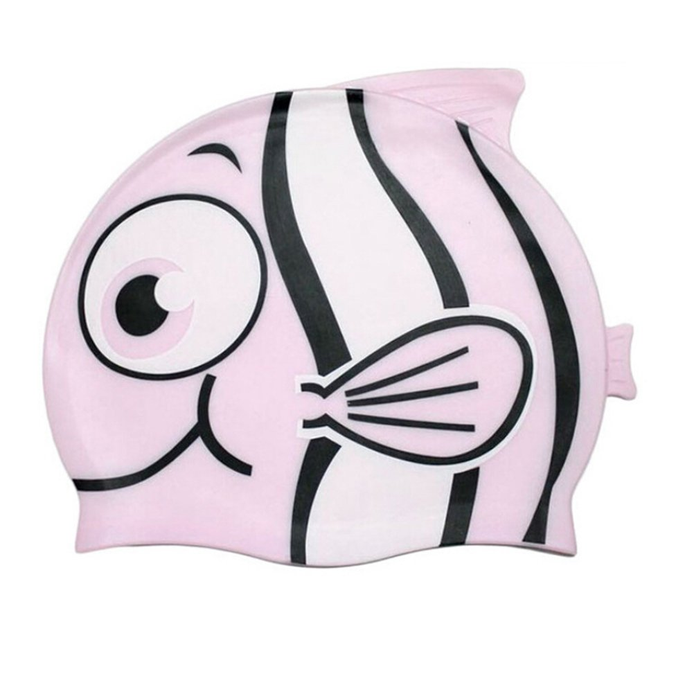 Tinksky Cartoon-Fisch geformt schwimmen GAP Silikon Badehaube für Kinder (Pink) 150559CQ99Z5475