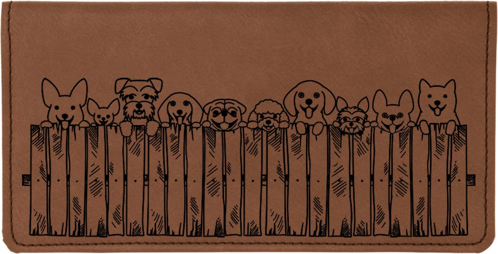 Peeking Pups Laser Engraved Leatherette Checkbook Cover