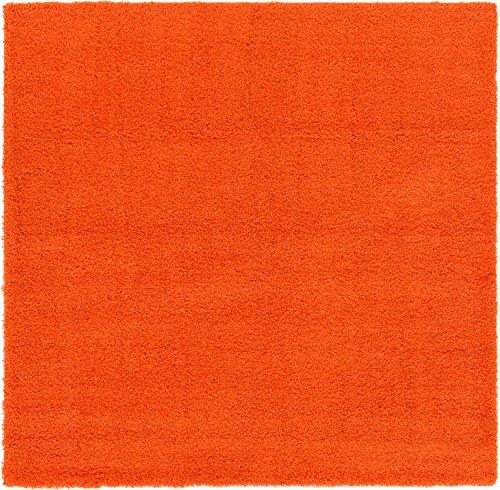Unique Loom Solo Solid Shag Collection Modern Plush Tiger Orange Square (8' x (Square Orange Shag Rug)