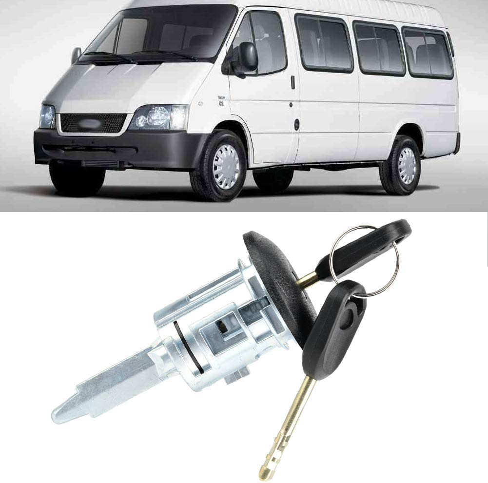 Qii lu Cilindro de la cerradura de la puerta derecha del automóvil, Cilindro de la cerradura de la puerta del conductor delantero derecho con 2 llaves para Transit MK6 2000-2006: Amazon.es: Coche