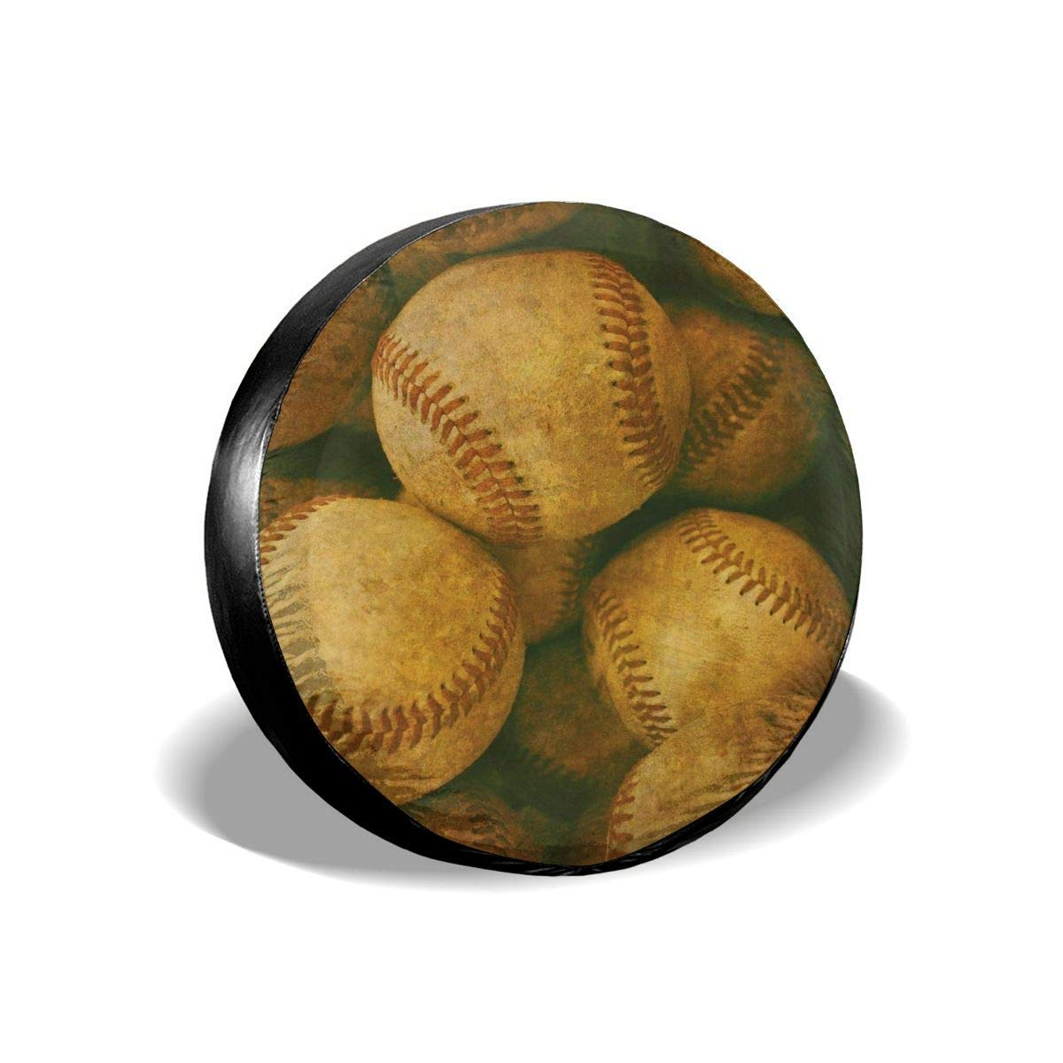 RV Gulong~a Vintage Baseball Nostalgic Leather Retro Balls Tire Cover Polyester Waterproof Dust-Proof Universal Spare Wheel Tire Cover Fit for Jeep SUV and Many Vehicle Trailer