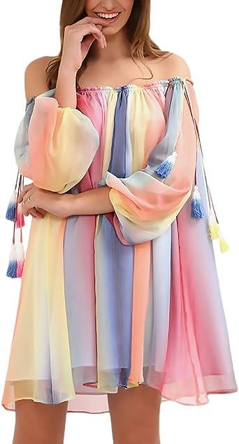 Vestidos Mujer Cortos Playa Gasa Arcoiris Colores Cuello Barco ...