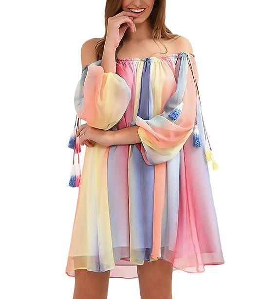Vestidos Mujer Verano Vestido Playa Cortos Gasa Chiffon tul Arcoiris Colores 3/4 Manga Cuello Barco Hombro Descubierto Anchos Hippie Moda Casual Vestidos ...
