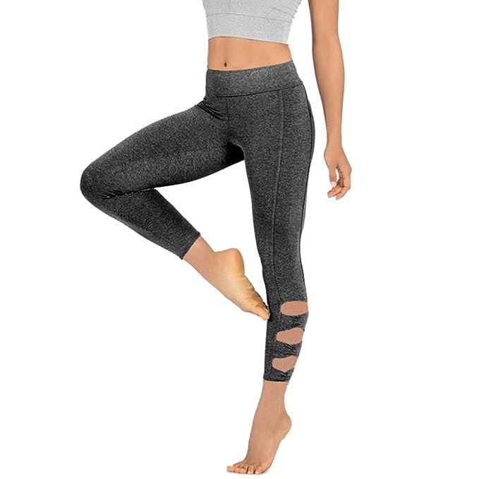 Leggings Deportivos yoga Pantalones Mujer Color sólido hueco plisado caderas de cintura alta con estampado Elastico para Gimnasio Fitness Fannyfuny