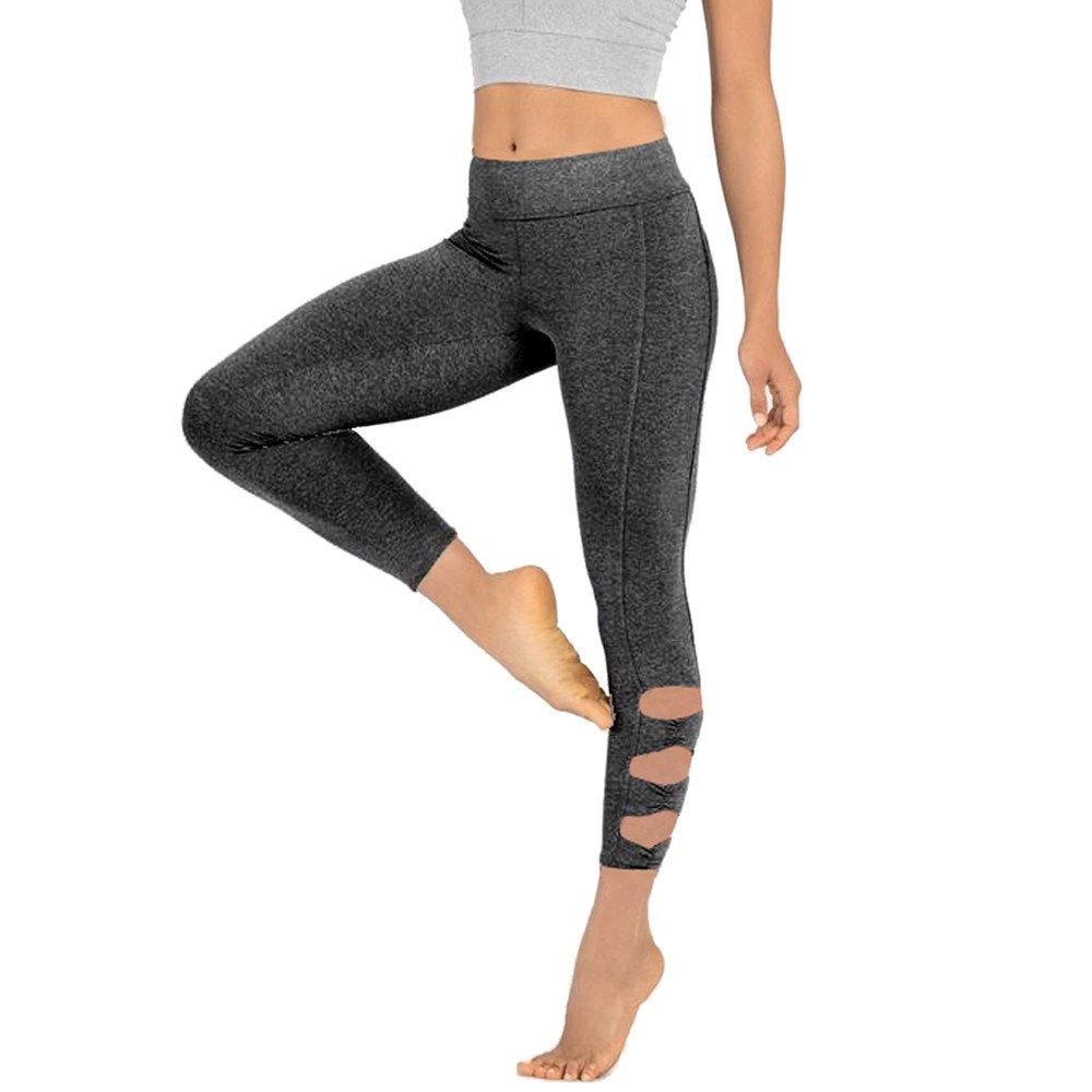 Mnyycxen Woman Yoga Sport Gym Fitness Elastic Skinny Pants Workout Ankle-Length Pants Running Leggings Gray
