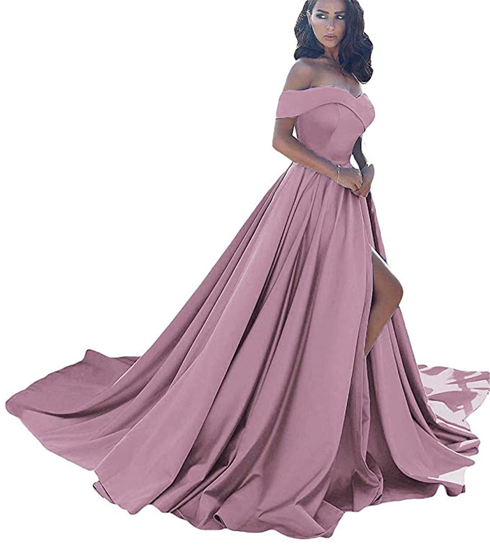 bluesh QiJunGe Women's Off The Shoulder A Line Prom Dress Split Satin Formal Evening Gowns Long