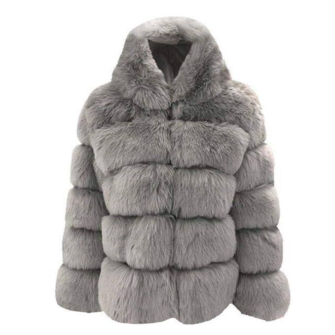 Evokems Mujer Casual Espesar Invierno cálido Faux Conejo Abrigo de Piel Outwear Abrigos: Amazon.es: Ropa y accesorios