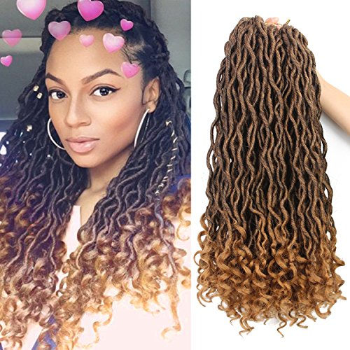 Eerya 6Packs/Lot Wavy Goddess Faux Locs Crochet Synthetic Braiding Hair 18 Inch Soft Curly Fauxlocs Havana Mambo Twist Hair Extensions Braids Dreadlocks 24Roots (18inch Natural Black Brown T1B/27) by Eerya
