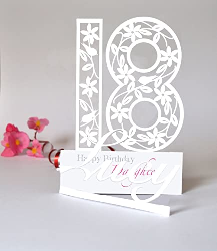 Large Personalised 3D Paper Cut 18th Birthday Card For A Daughter Sister Niece