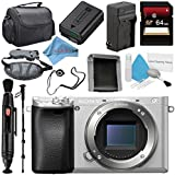 Sony Alpha a6300 Mirrorless Digital Camera (Silver) ILCE-6300/S + NP-FW50 Replacement Lithium Ion Battery + External Rapid Charger + Carrying Case + Memory Card Wallet Bundle