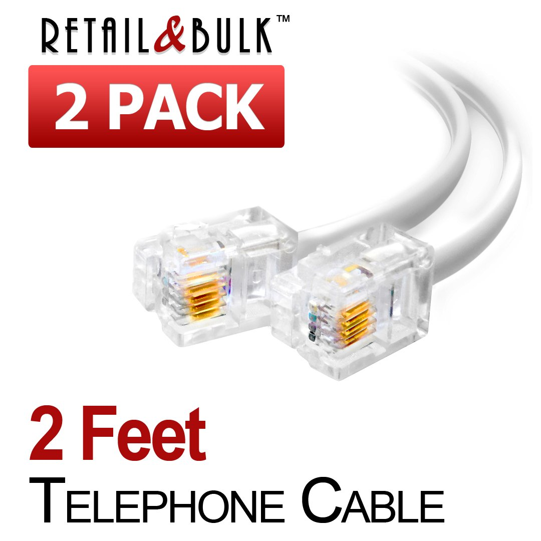 Amazon.com: (2 Pack) 6 Inch Short Telephone Cable Rj11 Male to Male ...