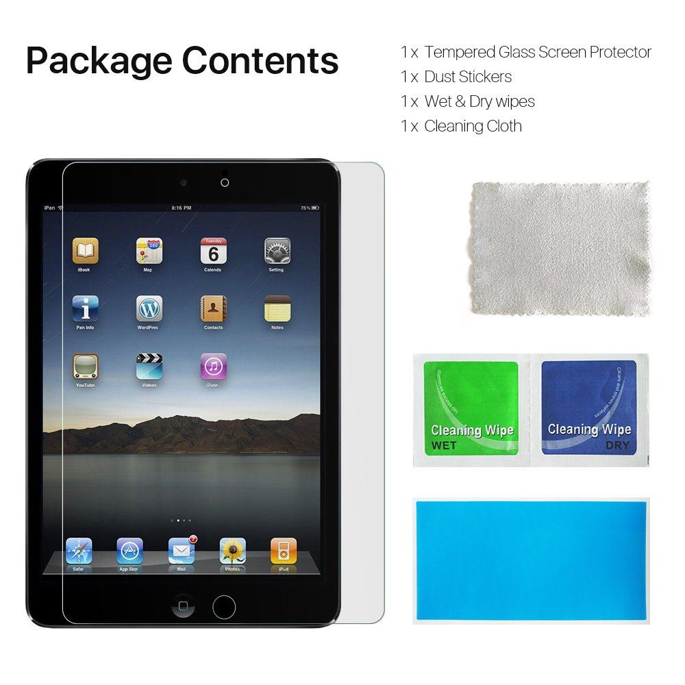 EyeO2 9.7 Inch Screen Protector for iPad 2/ 3/ 4 9H Anti-Scratch Tempered Glass Film for Apple iPad Screen Guard Anti-Fingerprint Edge To Edge Shatter-Proof Film Protection