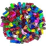 Craft County 100 或 200 片 0.95 cm 波状外形侧释放塑料扣(20 种不同颜色) 透明 Solid Mix - 200 Pack 200 X 3/8-BUCKLES-RANDOM-