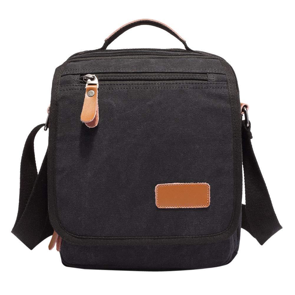 Onemoret pour homme vintage en toile Cartable sacoche sac à bandoulière pour ordinateur portable Sac cadeau marron