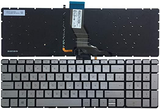 Sliver Key Black Word Laptop Replacement Keybord Fit HP Pavilion 15-AB005NF 15-AB008NF 15-AB011NF 15-AB012NF 15-AB276NF 15-AB278NF 15-AB280NF Spanish Layout with BackLiight