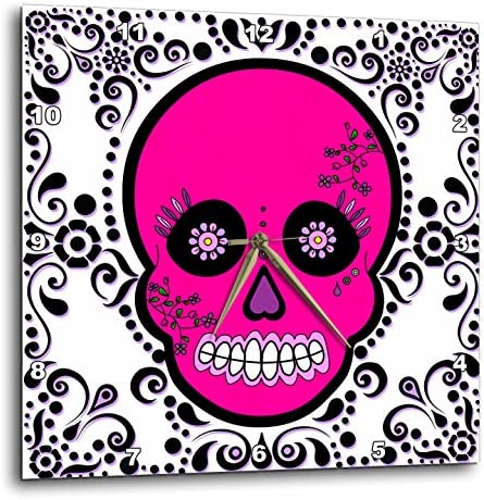 3dRose dpp_28871_3 Day of The Dead Skull D a De Los Muertos Sugar Skull Scroll Design Wall Clock, 15 by 15-Inch, Pink White Black