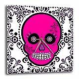 3dRose LLC Day of The Dead Skull Dia De Los Muertos Sugar Skull Pink White Black Scroll Design 10 by 10-Inch Wall Clock Review