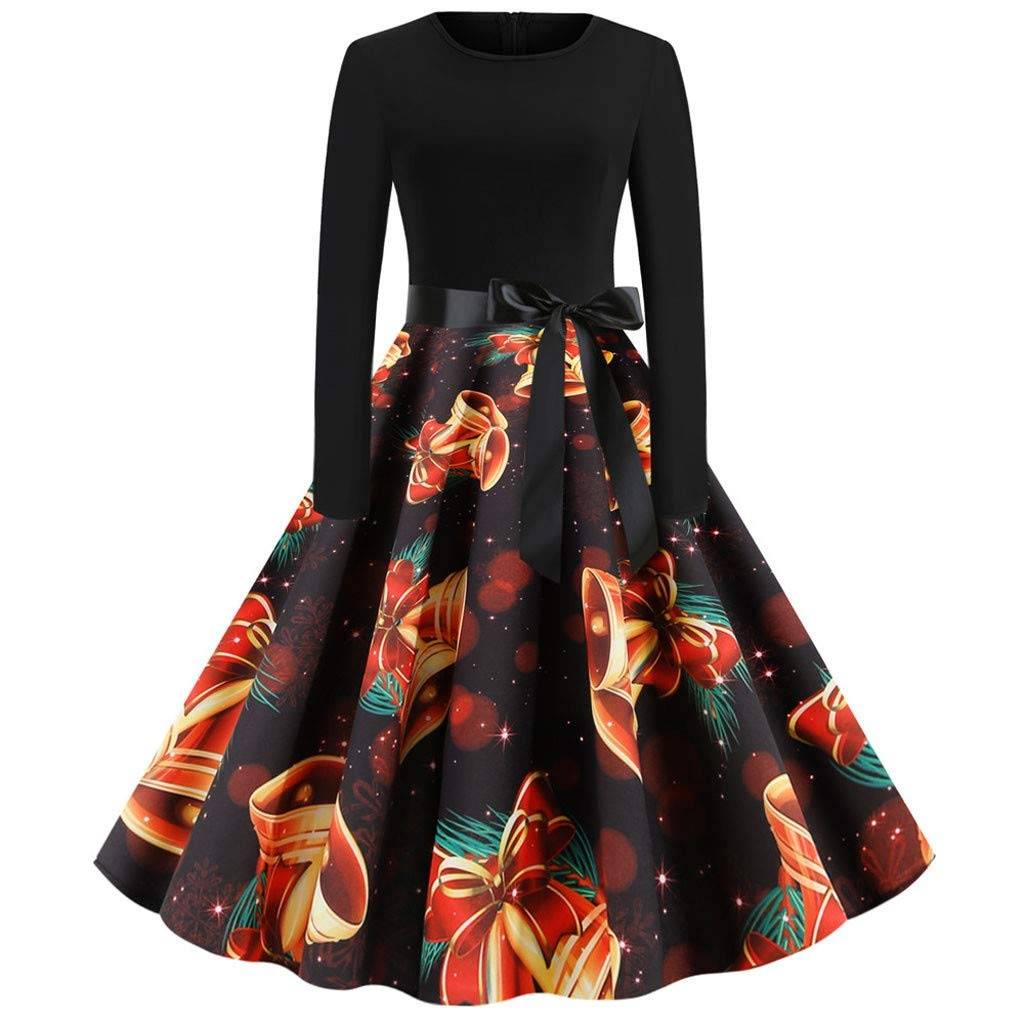 Aunimeifly Ladies Christmas Print Long Sleeve Dresses Women Vintage Waist Bow Swing Evening Party Prom Dress(S,Black-H) by Aunimeifly