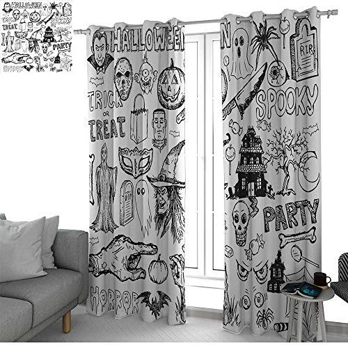 NUOMANAN Bedroom Curtains 2 Panel Sets Vintage Halloween,Hand Drawn Halloween Doodle Trick or Treat Party Severed Hand Design,Black White,Complete Darkness, Noise Reducing Curtain -