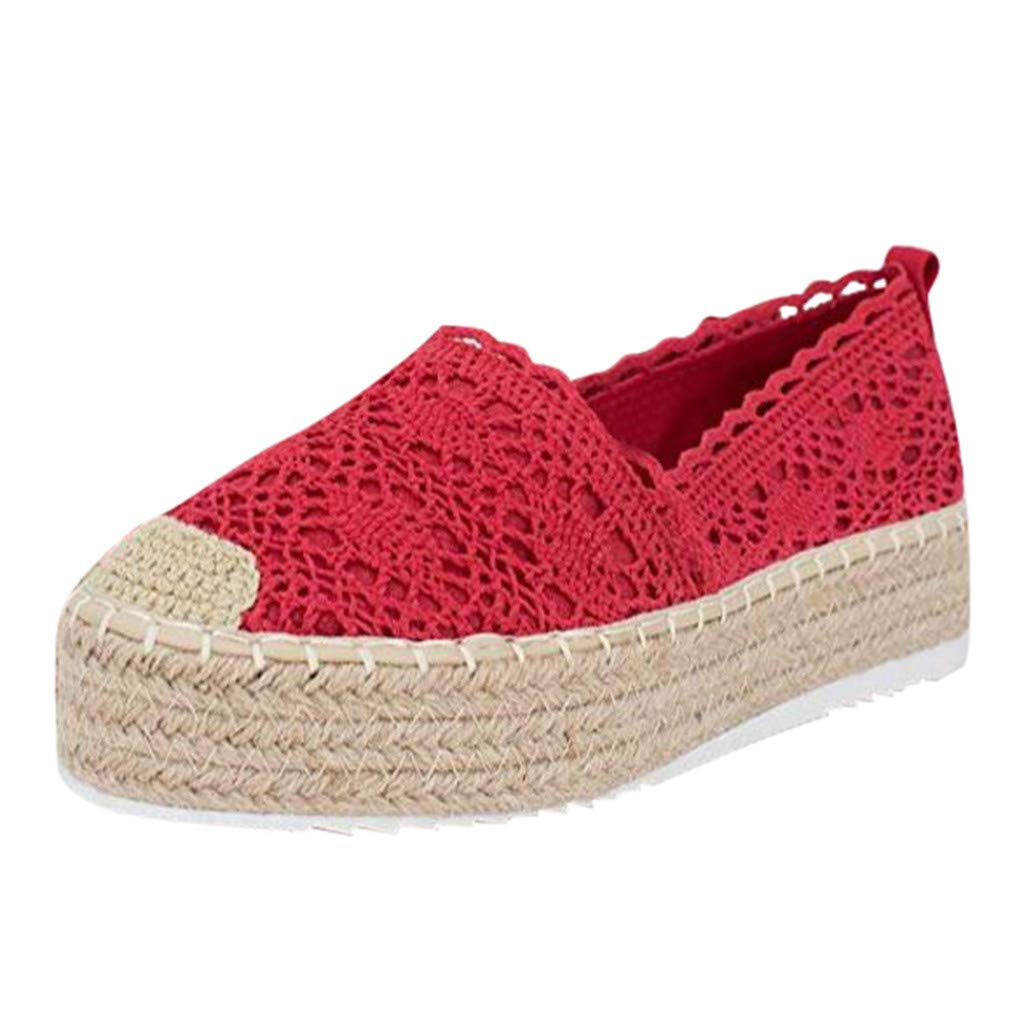 HENWERD Women's Hollow Platform Casual Shoes Solid Color Breathable Wedge Espadrilles (Red,5 US)