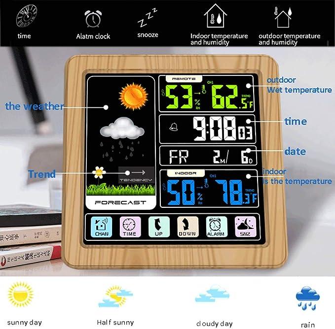 ALLOMN Estación Meteorológica Inalámbrica, Control Tactil Reloj Digital Multifuncional de Pronóstico del Tiempo con Clima Interior Exterior/Temperatura/Humedad/Barómetro/Alarma: Amazon.es: Jardín