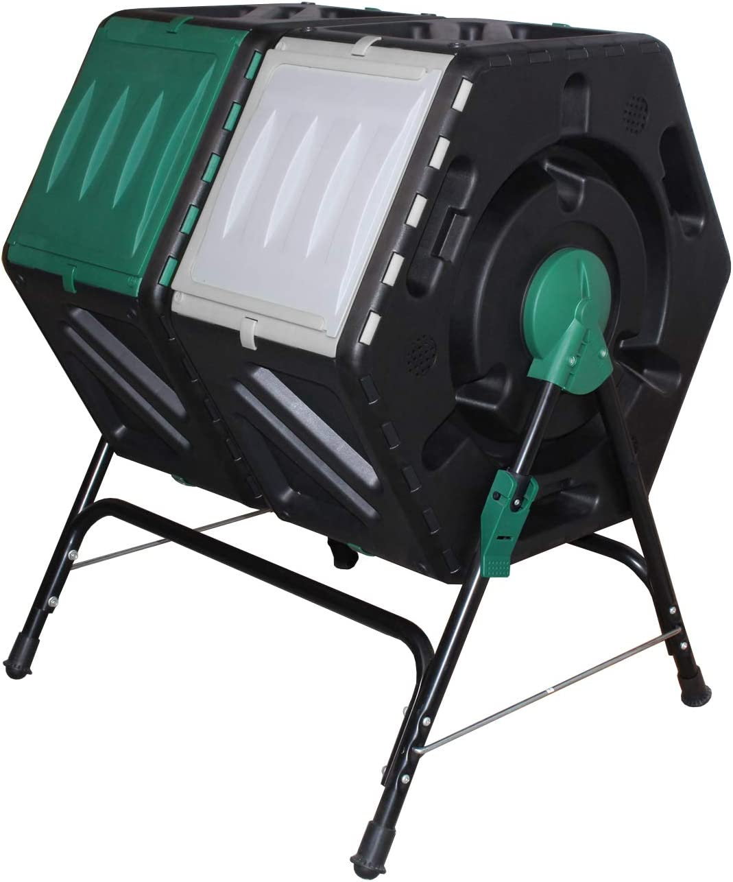 Giading Compost bin Outdoor, Compost Tumbler Easy Tumbling or Rotating, 2 Sliding Doors, (2 X 18.5 Gallon / 2 x 70 Liter).
