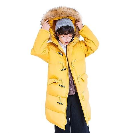 TSINYG Chaqueta con capucha suelta de la moda de las mujeres Invierno cálido espesar abrigos largos