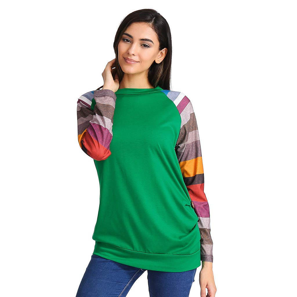 HOSOME Women Color Block T-Shirt Casual Tunic Blouse Long Sleeve Button Tops
