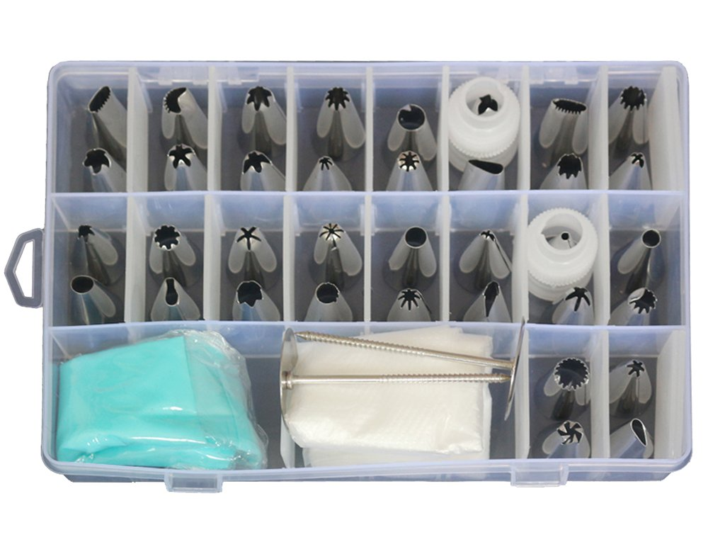 TABNOVO 52 Pieces Cake Decorating Supplies Kits, 36 Icing Piping Tips, 1 Silicone Pastry Bags, 10 Disposable Pastry Bags,2 Flower Nails, 2 Reusable Plastic Couplers and a Storage Case
