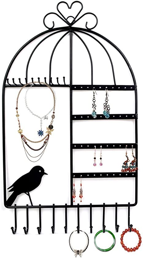 Earrings Holder Wall Hook Necklace Holder Store Display Stand. Bracket Holder Wall Mount for Jewelry Luckycyc Wrought Iron Storage Rack
