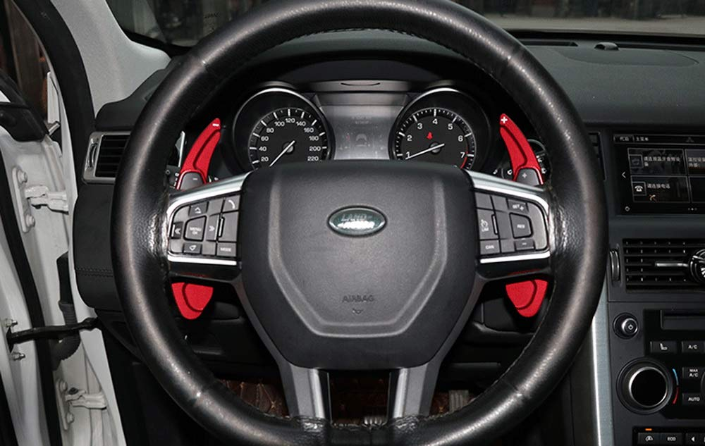 Land Rover Evoque etc Discovery Range Rover Sport iJDMTOY Red CNC Billet Aluminum Steering Wheel Larger Paddle Shifter Extension Covers Compatible With Jaguar F-Pace E-Pace XE XF XJ
