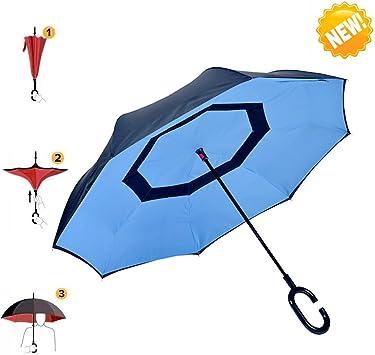 Aigumi Paraguas, se sujeta solo, impermeable, se pliega al revés ...