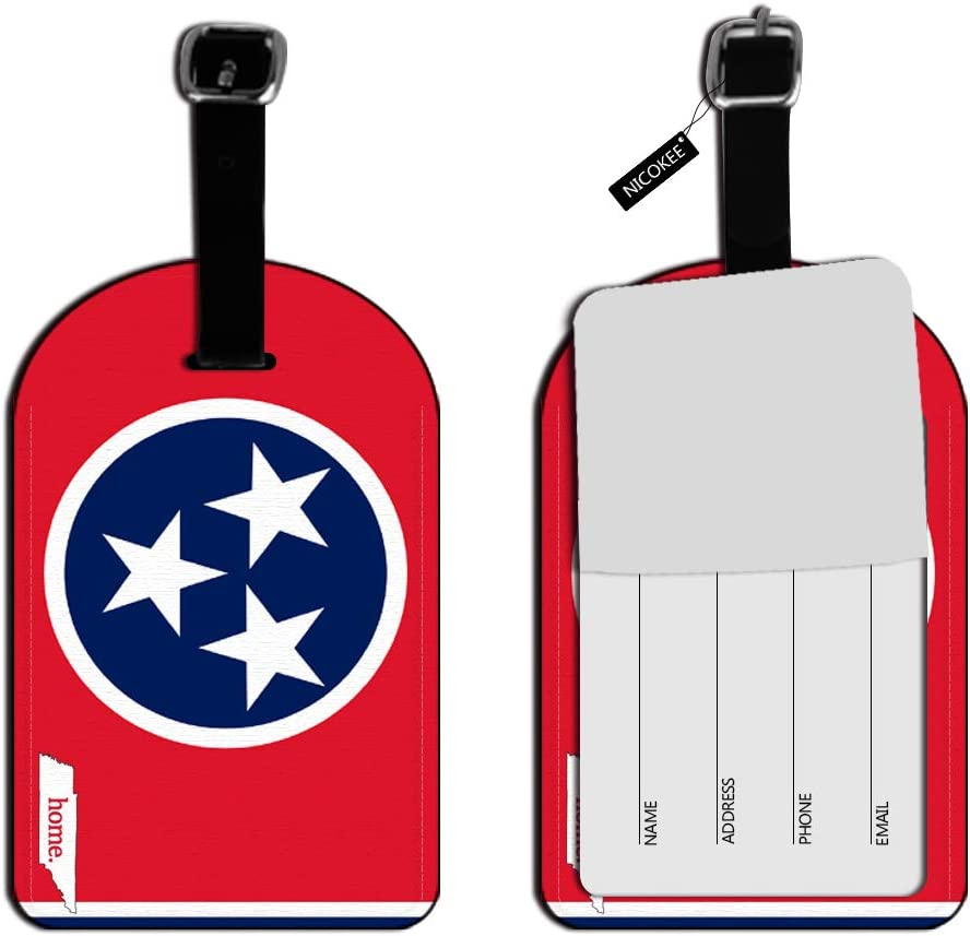 Nicokee Tennessee Tn Home State Luggage Suitcase ID Tags-Flag, White Red Leather Travel Bag Labels Luggage ID Tags