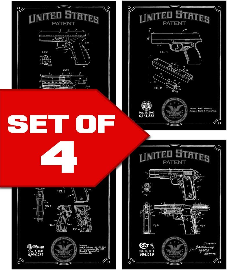 Wallables Black Handgun Patents Decor Set of Four 8x10 Gun Themed Decorative Prints, Glock, Sig Sauer, Colt, Smith & Wesson, Great for Bachelor pad, Office, Living Room.