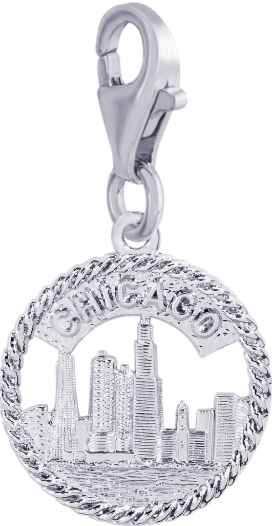 Rembrandt Charms, Chicago Skyline with Clasp.925 Sterling Silver, Engravable