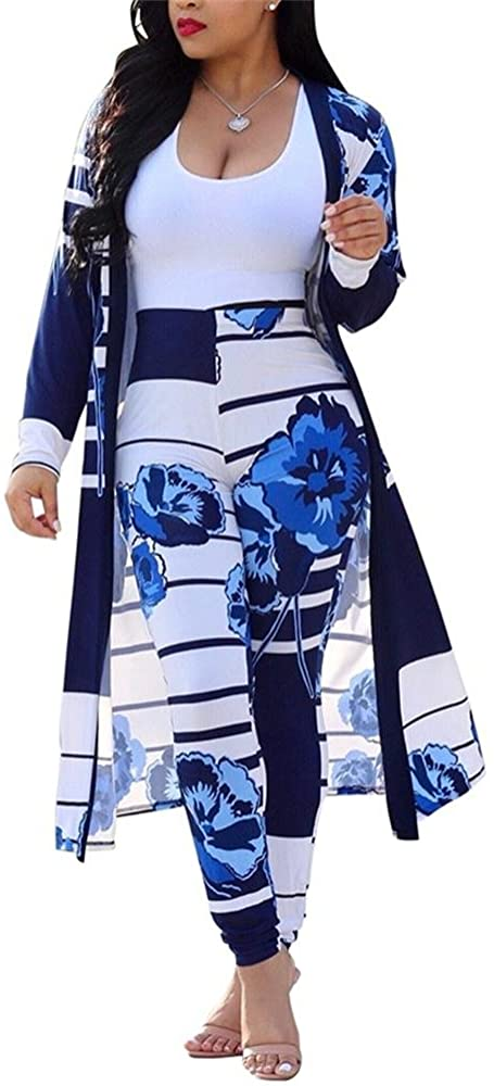 Womens Floral Print Long Sleeve Cardigan Cover up Long Pants 2 Piece Outfits Set