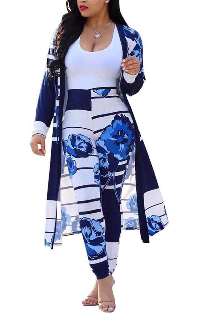 VLUNT Womens Strip and Floral Print Long Sleeve Cardigan Cover up Long Pants Set 2 Piece Suit Outfits