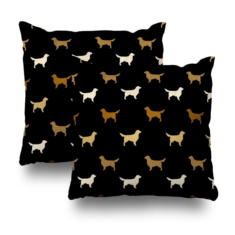 ONELZ Golden Retriever Silhouettes Square Decorative Throw Pillow Case, Fashion Style Zippered Cushion Pillow Cover (18X18 inch,Set of 2)