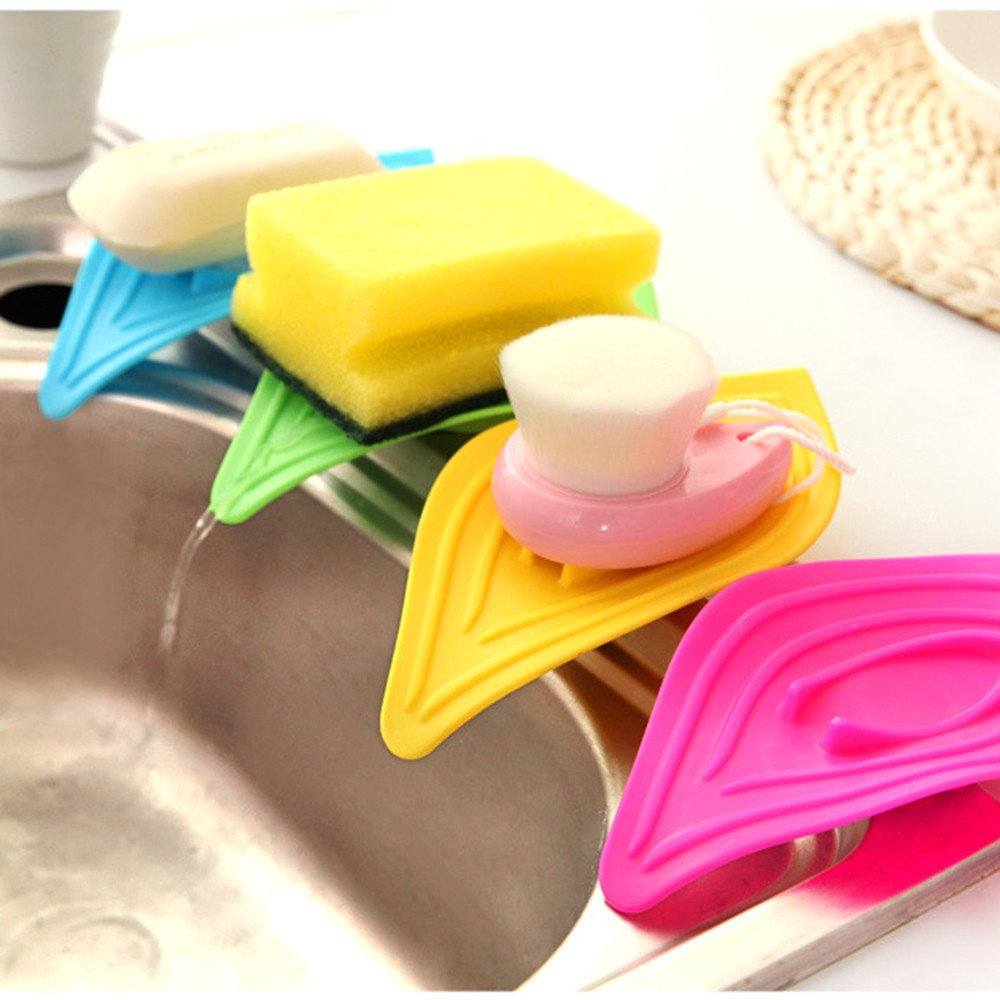 Sink Caddy Sponge Holder Waterfall Drain Soap Dish Container Sponge Tray Multifunction Sliding Ring Leaf Shape Soap Box Bathroom Kitchen Brush Soap Dishwashing Liquid Drainer Rack (random)