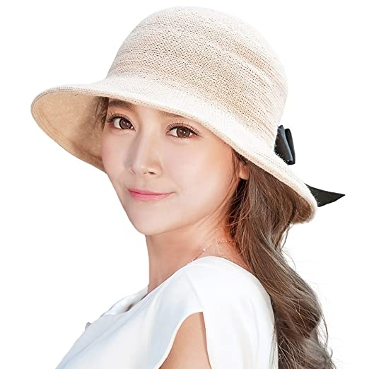 SIGGI Womens Packable Beige Straw Sun Hat Wide Brim Summer Breathable UPF  at Amazon Women s Clothing store  c7e3dd36dcb1