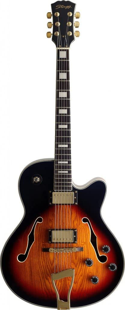 Stagg A300 Jazz Semi-Acoustic Electric Guitar Black