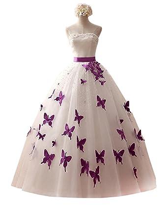 Datangep Women\'s Strapless Pearl Purple Butterfly Wedding Dress With ...