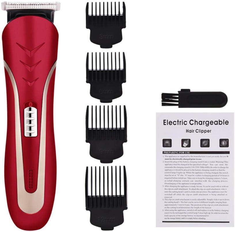 Cortapelos Afeitadora de cabeza de acero al carbono 3/6/9 / 12mm Peine de límite Trimer recargable Barba eléctrica Cortador de pelo Razor Trimmer para hombres y uso familiar-Rojo