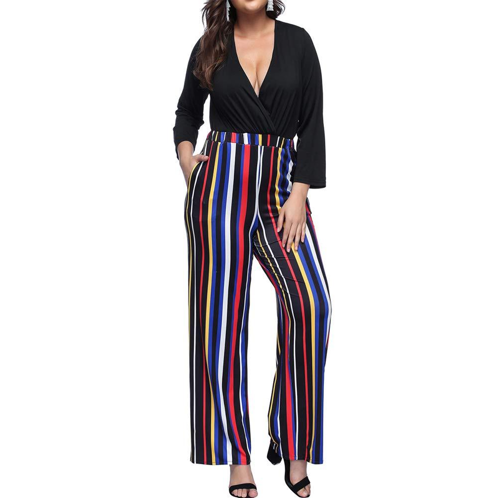 8a5c48f951 Vilover Women's Plus Size Jumpsuits Sexy V Neck Wide Leg Long Romper Pants